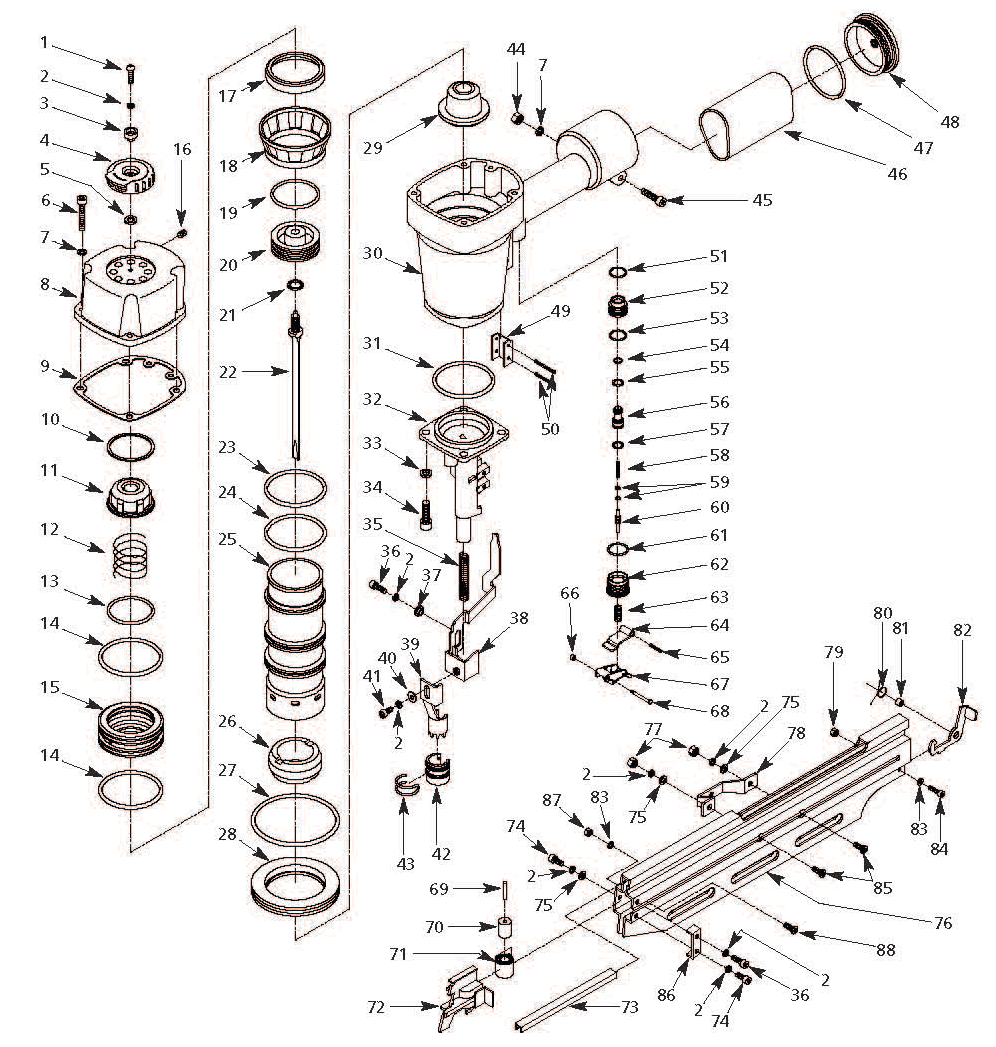 HDN21901 - Pneumatic Framing Nailer Parts schematic