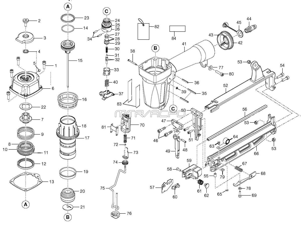 Husky H250sf Nailer Parts Ford 3000 Generator Wiring Diagram Pneumatic Finish Schematic