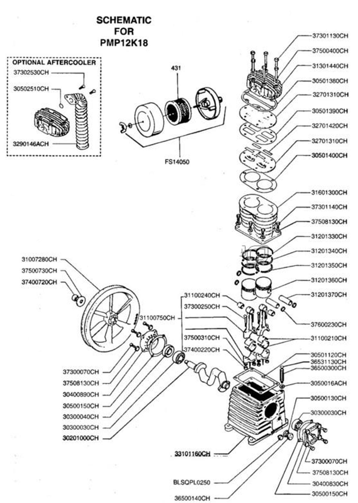 K18 - Air Compressor Pump Parts schematic