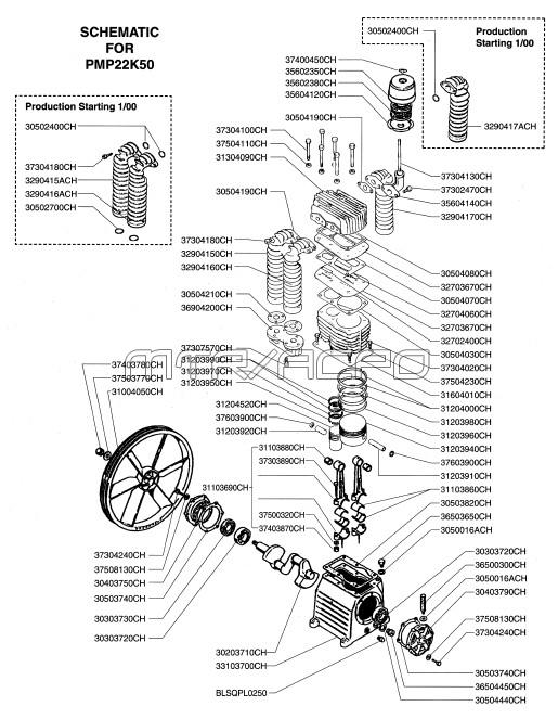 K50, K50HU - Air Compressor Pump Parts schematic