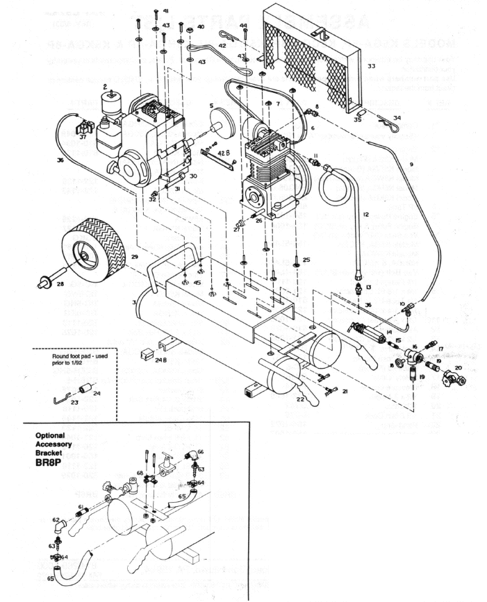 K5HGA-8P, K5GA-8P, K5WGA-8P, K5CGA-8P - Air Compressor Parts schematic