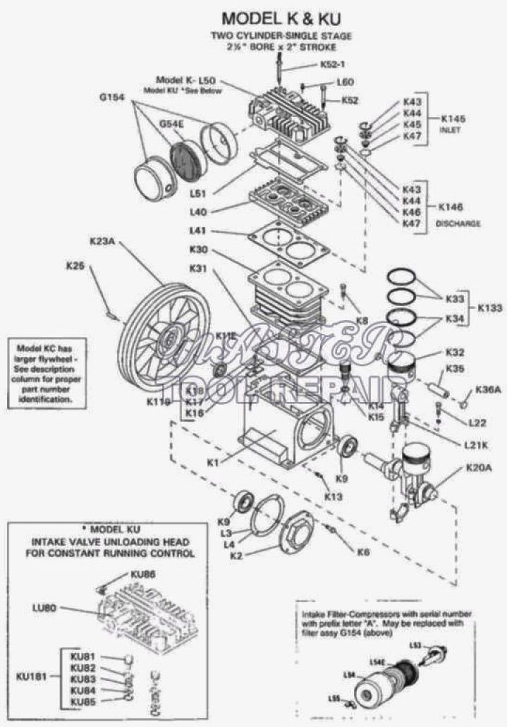 K - K Series Air Compressor Pump Parts schematic