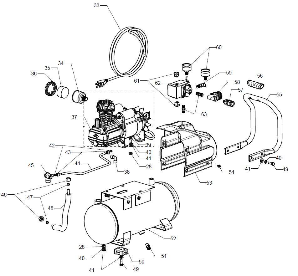 L13HPD Tank - Air Compressor Parts schematic