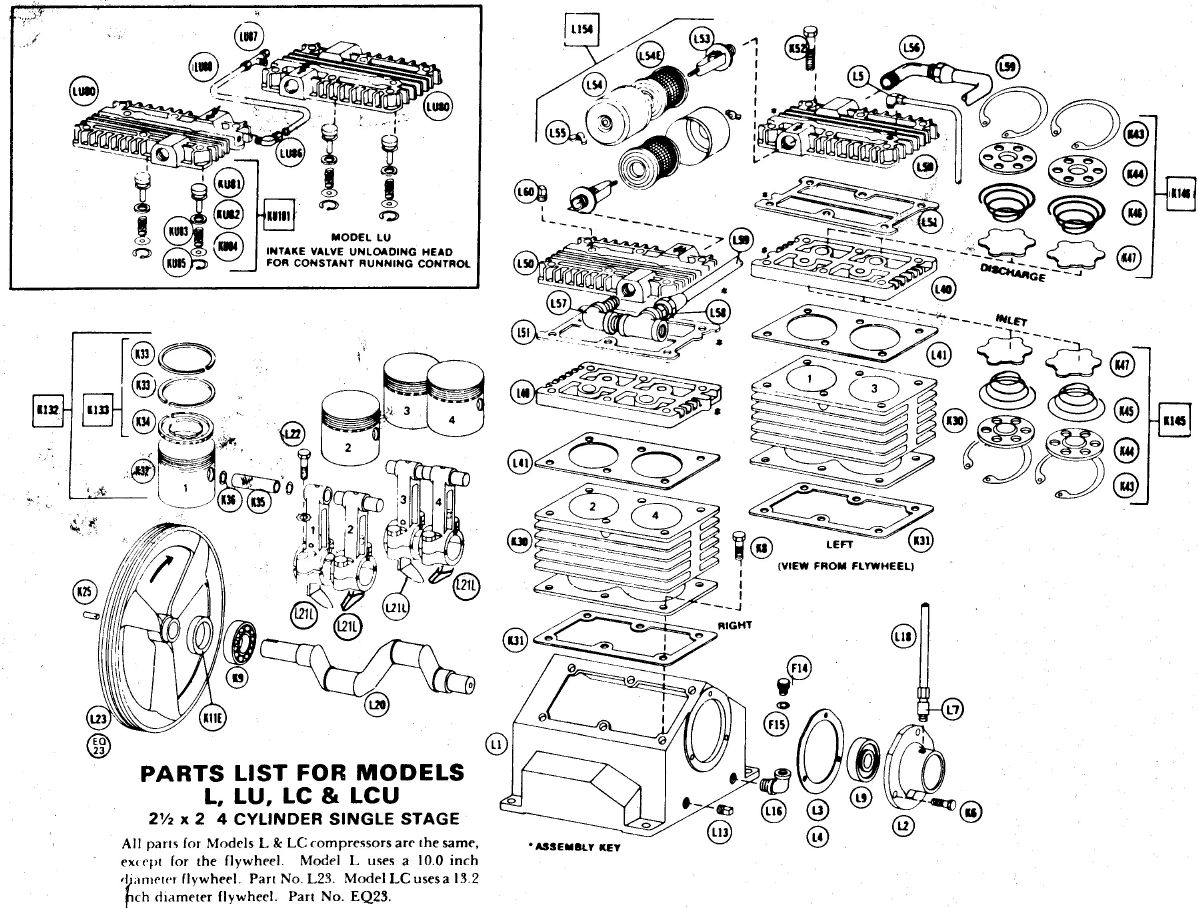 L, LC, LU, LCU - Air Compressor Pump Parts schematic