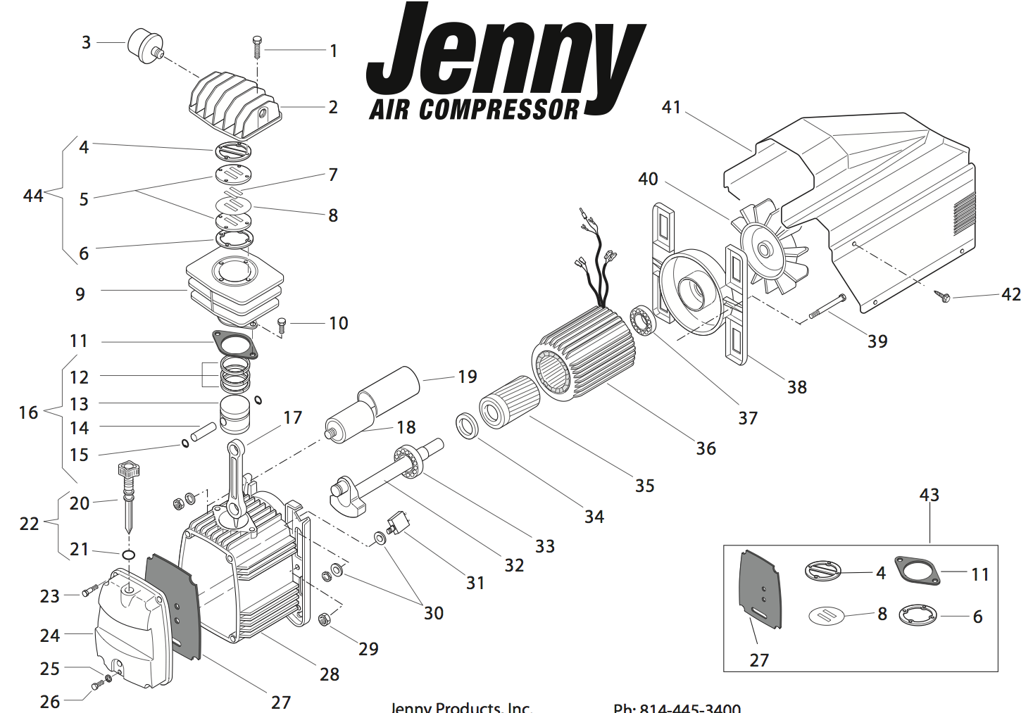 repair parts for jenny mk246 air compressor pump