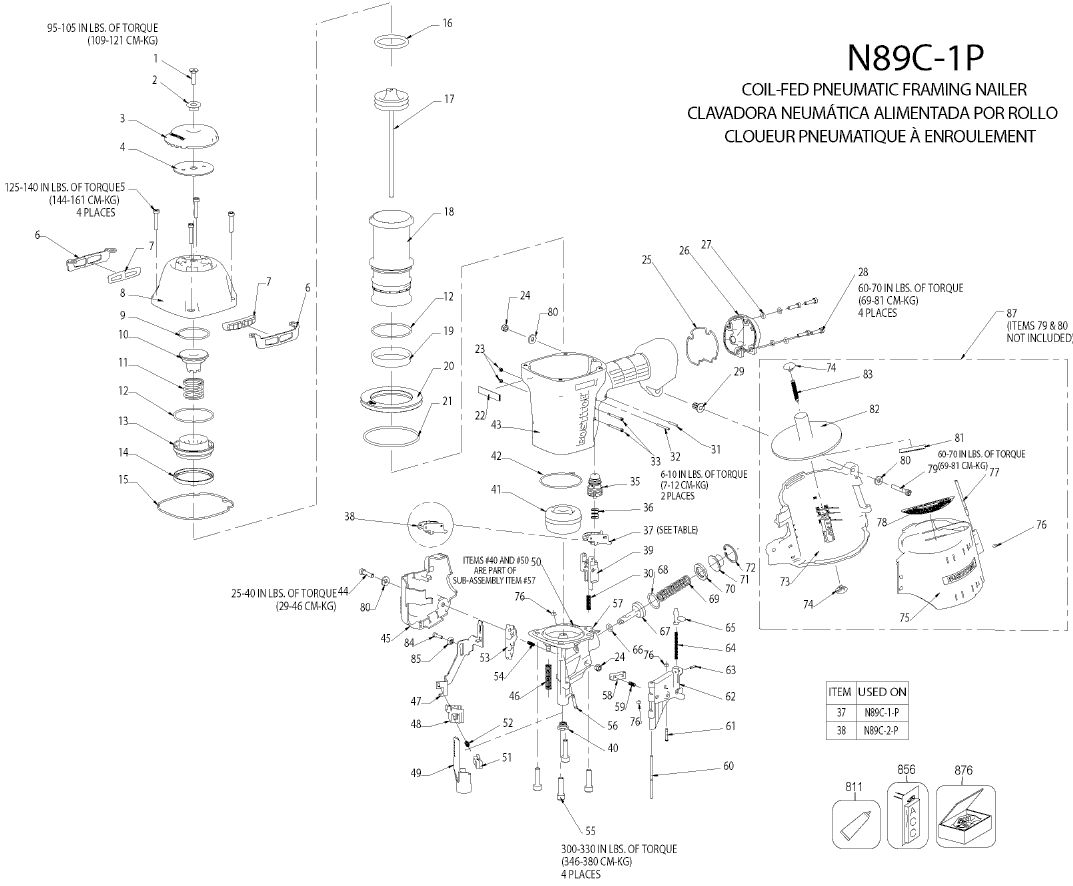 N89C-1 - Pneumatic Coil Framing Nailer Parts schematic