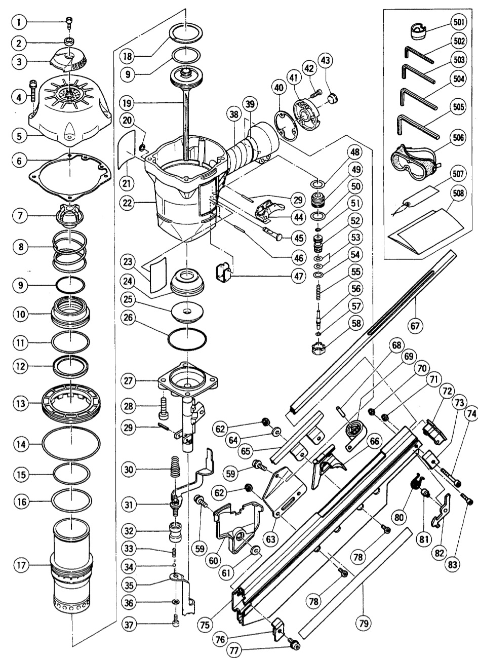 nr90aa pneumatic framing nailer parts schematic click to enlarge close slide to zoom image