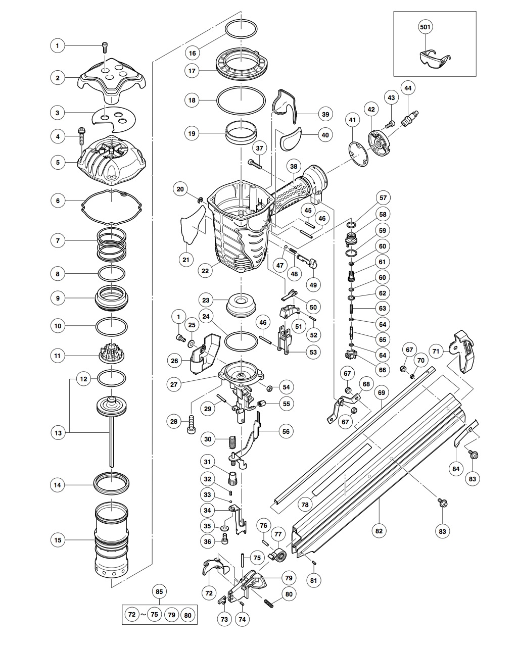 nr90af pneumatic framing nailer parts schematic click to enlarge close slide to zoom image