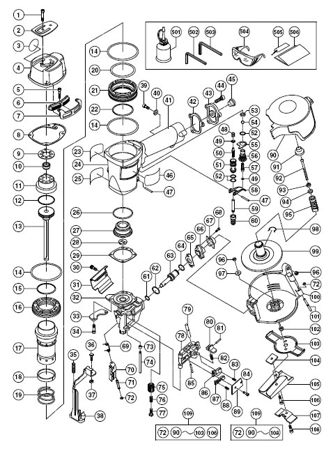 NV45AB2 - Pneumatic Coil Roofing Nailer Parts schematic
