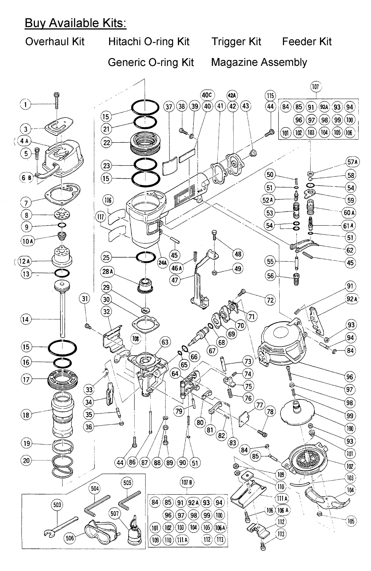 NV45AB - Pneumatic Coil Roofing Nailer Parts schematic