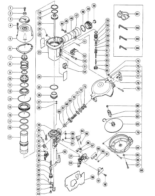 NV65AH - Pneumatic Coil Siding Nailer Parts schematic