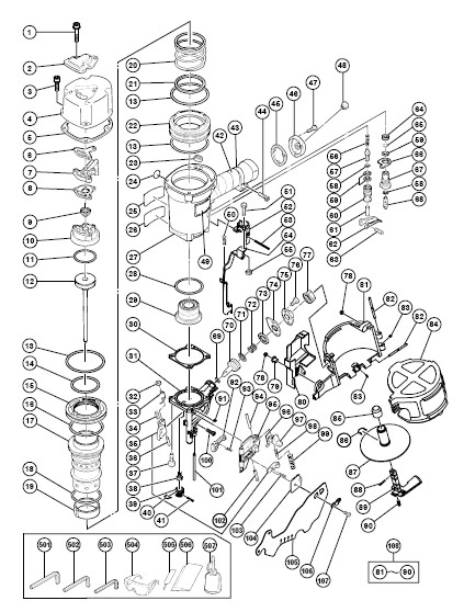NV83A2 - Pneumatic Coil Framing Nailer Parts schematic