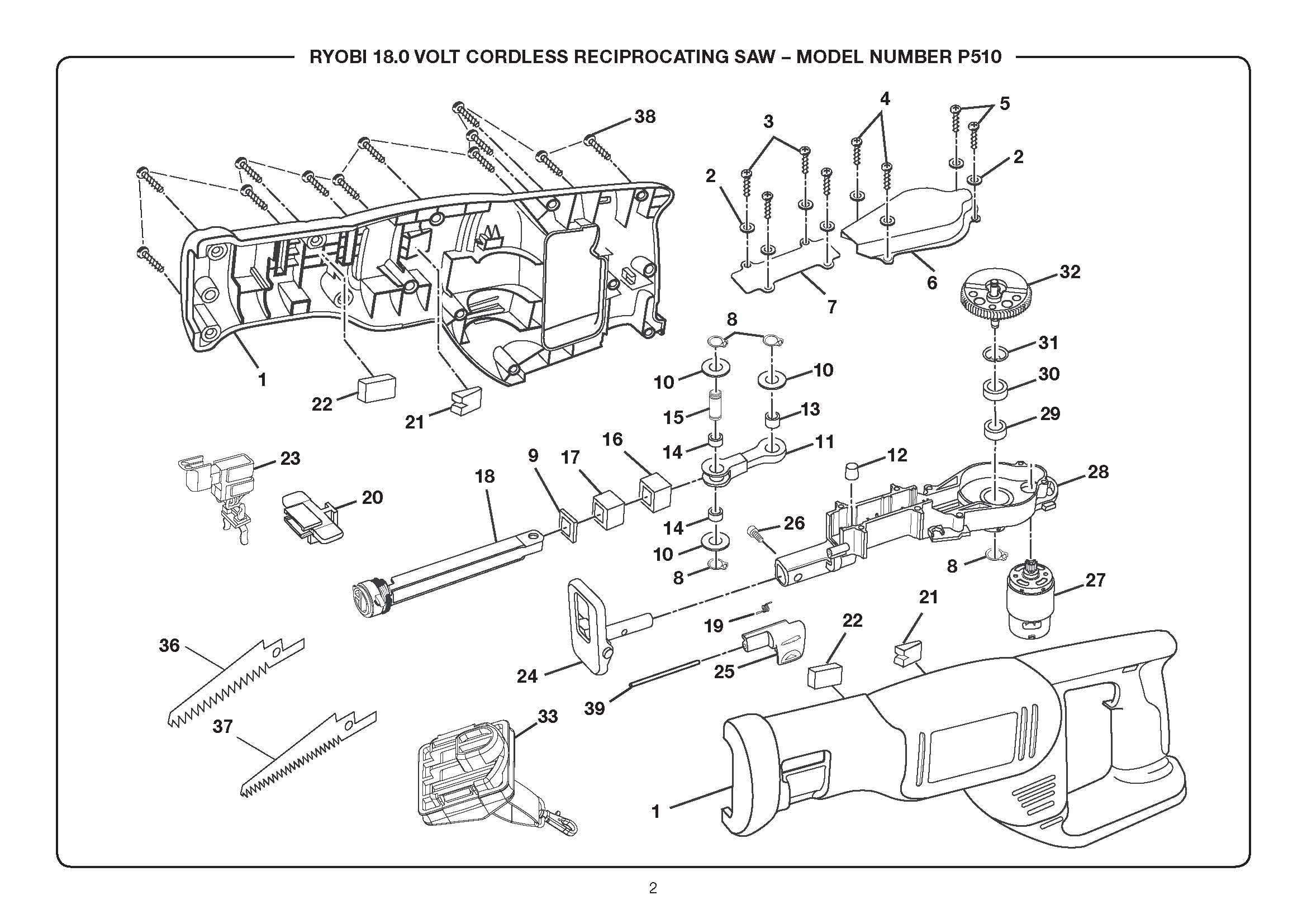 Reciprocating Saw Diagram Trusted Wiring Diagrams Milwaukee Sawzall P510 Ryobi Parts Power Tool De Walt Wire