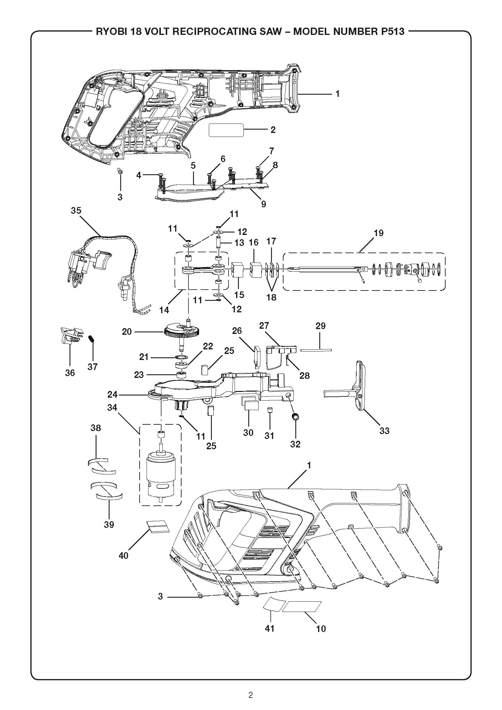 P513 - Cordless Reciprocating Saw Parts schematic
