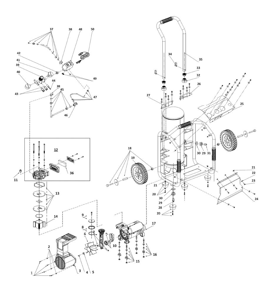 PC0969 - Portable Oil-Free Electric Air Compressor Parts schematic