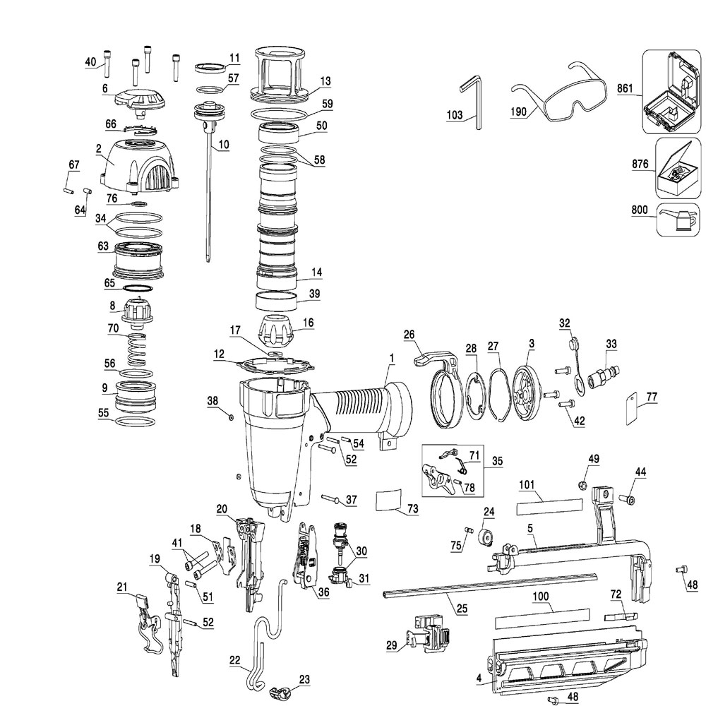 FN250C - Pneumatic Finish Nailer Parts schematic