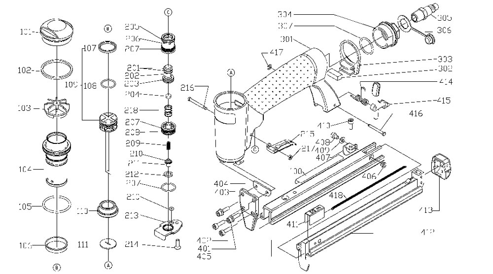 US58 - Pneumatic Upholstery Stapler Parts schematic