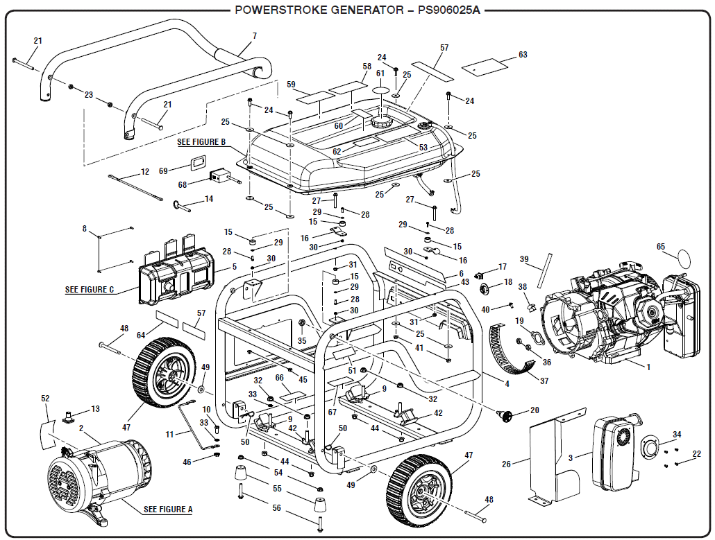 PowerStroke PS906025A Schematic powerstroke ps906025a portable gas generator parts  at panicattacktreatment.co