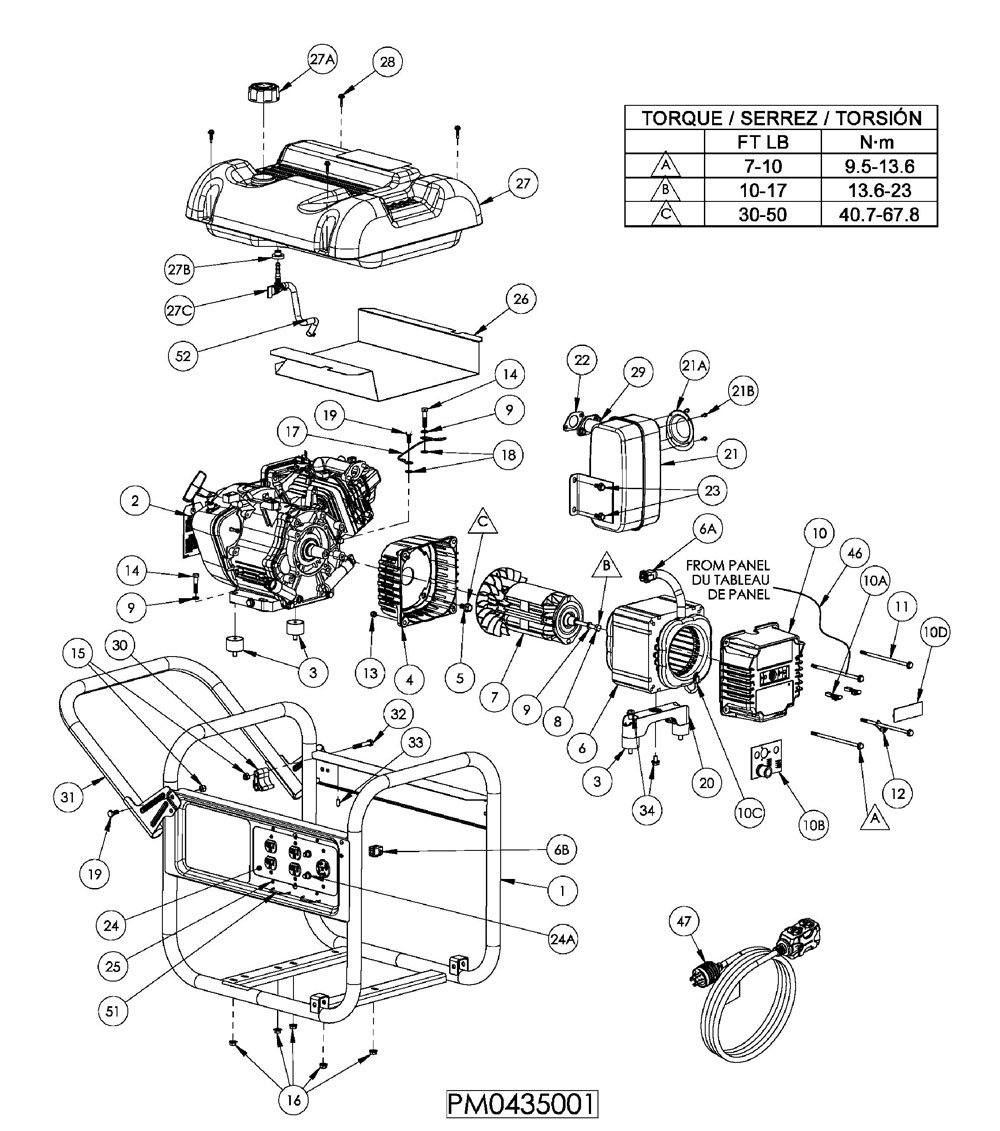 PM0435001 - Generator Parts schematic
