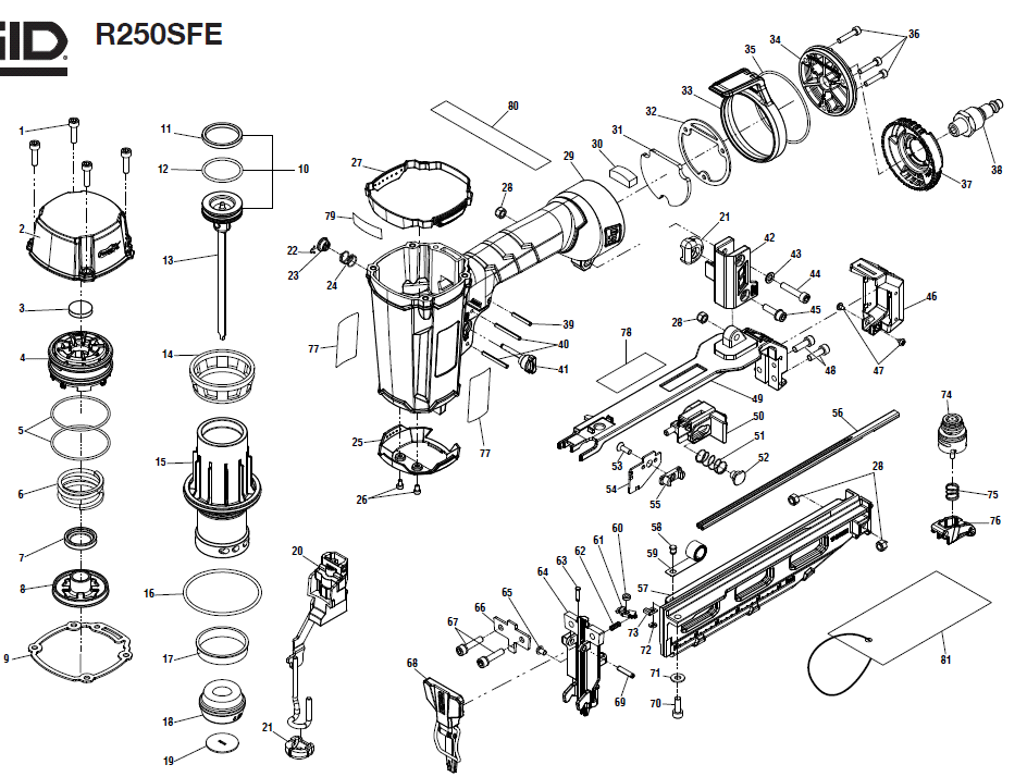 R250SFE - Pneumatic Finish Nailer Parts schematic