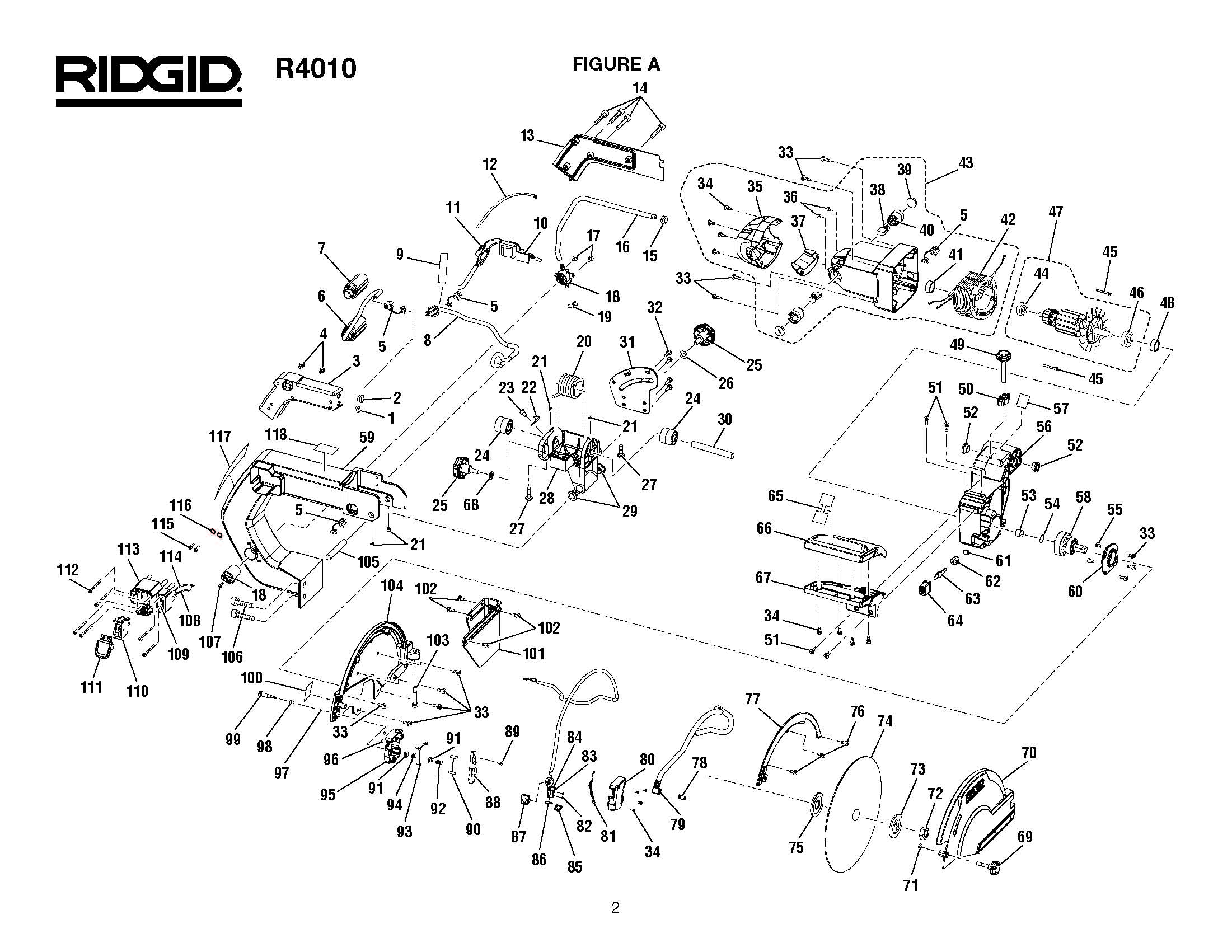 R4010 A - Tile Saw Parts schematic