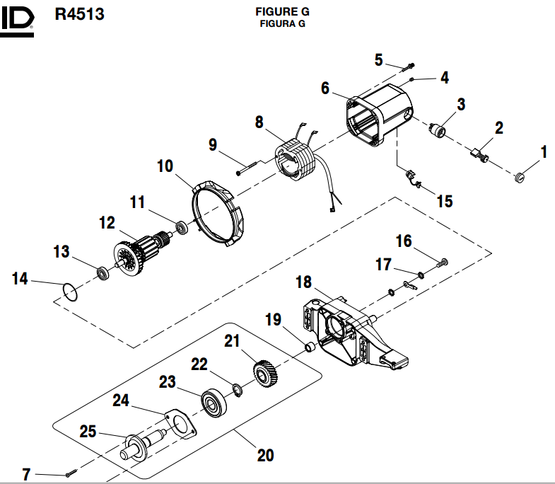 R4513_figureG ridgid r4513 parts master tool repair ridgid r4513 wiring diagram at crackthecode.co