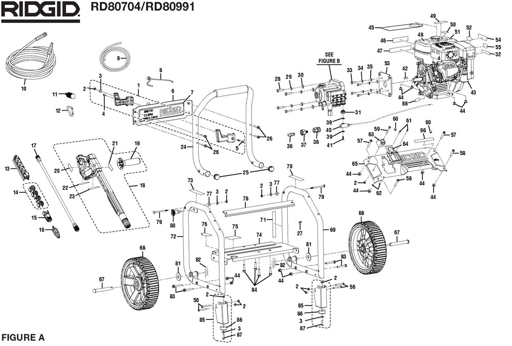 RD80704, RD80991 - Pressure Washer Parts schematic