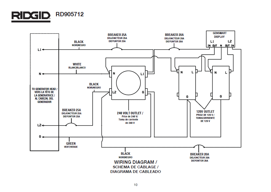 ridgid rd905712 generator wiring diagram rh mastertoolrepair com generator wiring diagrams wacker generator wiring diagram for b regulator