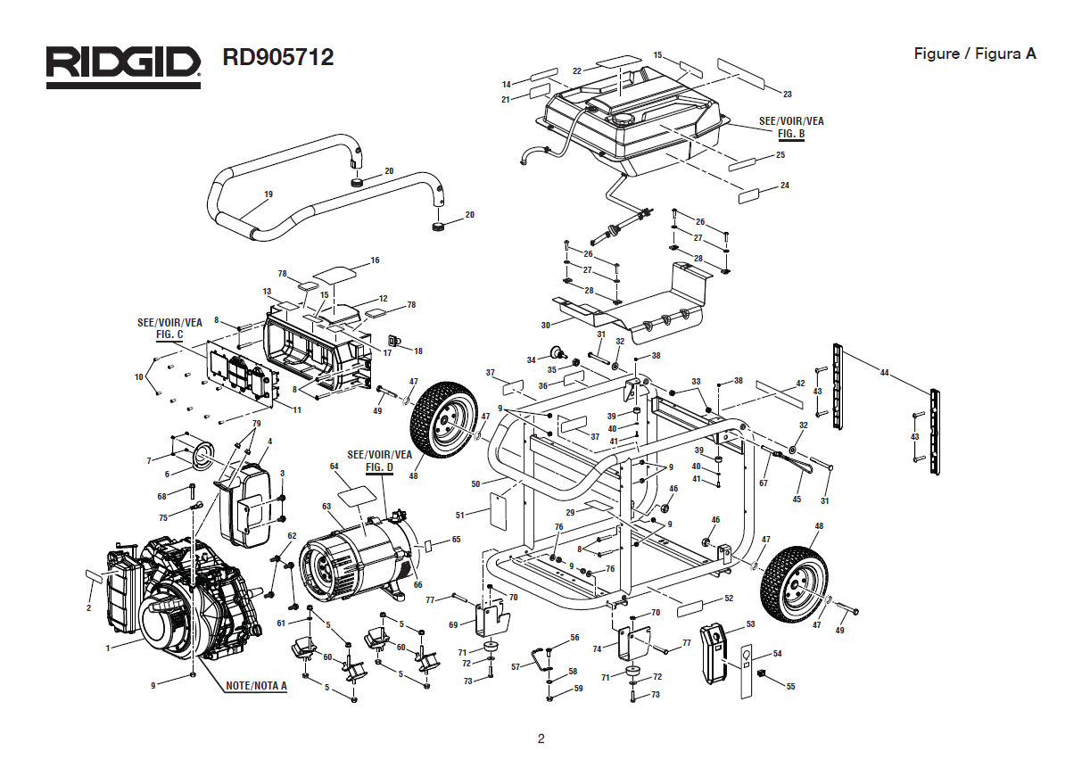 RD905712 figure A ridgid rd905712 generator ridgid 300 wiring diagram at metegol.co