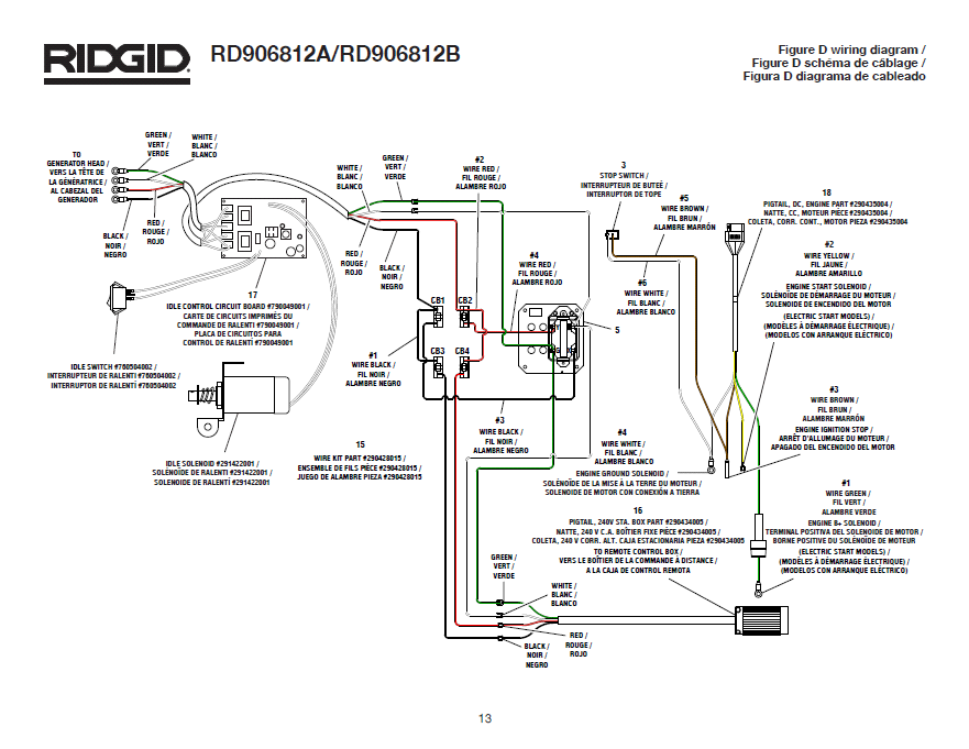 RD906812A Wiring Diagram Fig D ridgid generator wiring diagram 2 for rd906812a, rd906812b generator wiring diagrams at gsmx.co