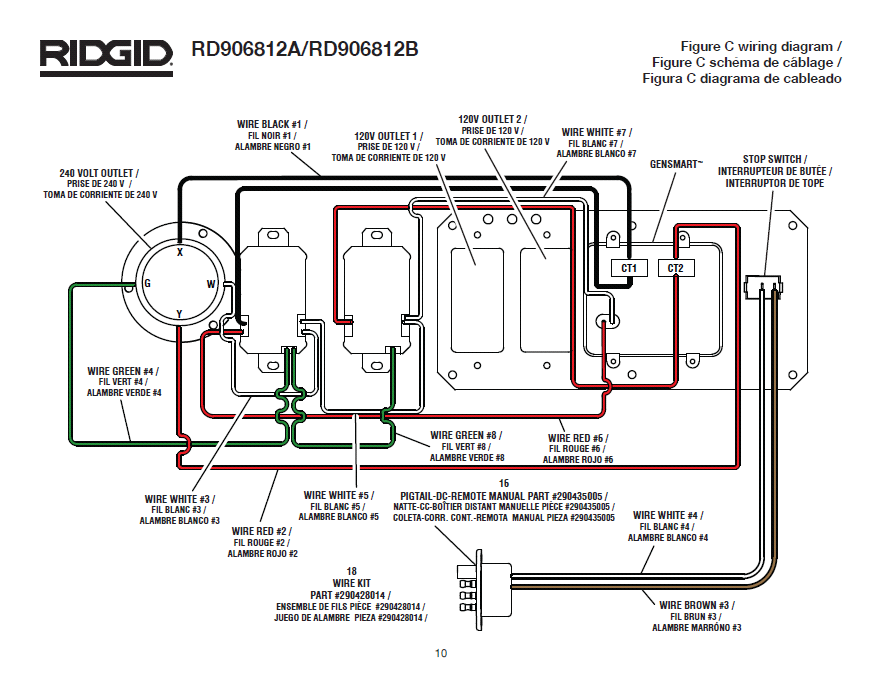 RD906812A wiring diagram Fig C ridgid rd906812a, rd906812b generator husky 5000 watt generator wiring diagram at mr168.co