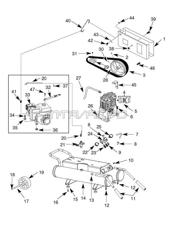 GP90135, GP90135A, GP90150A - Air Compressor Parts schematic