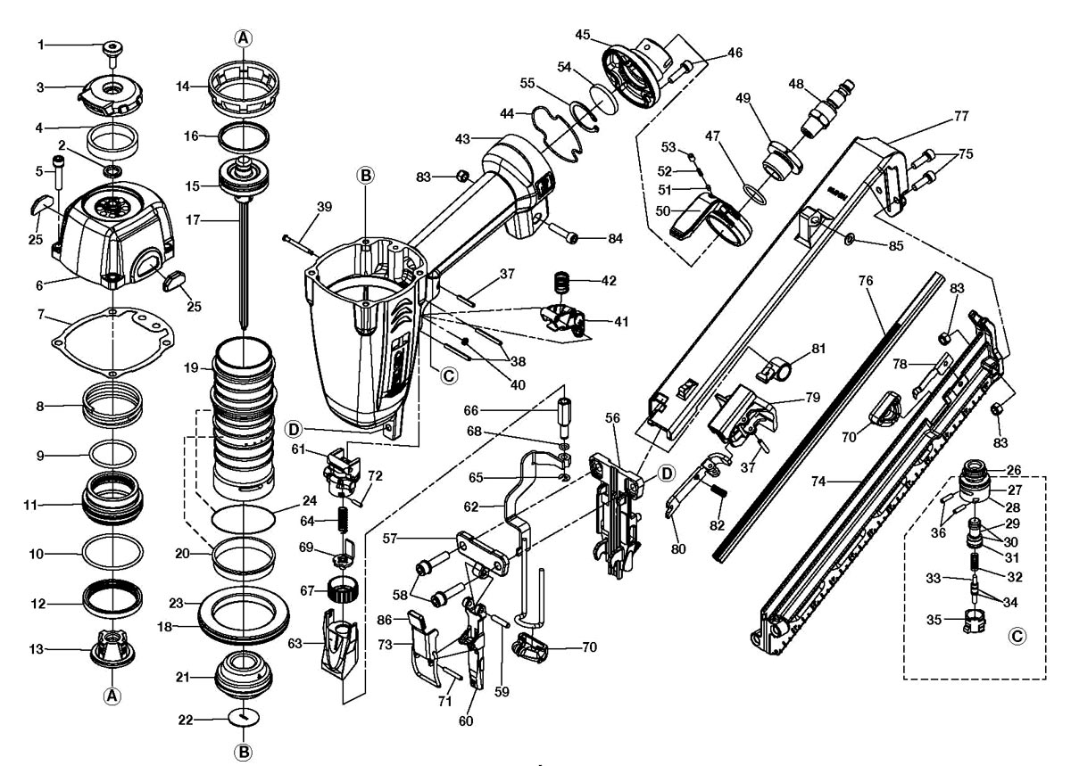 R250AFA - Pneumatic Finish Nailer Parts schematic