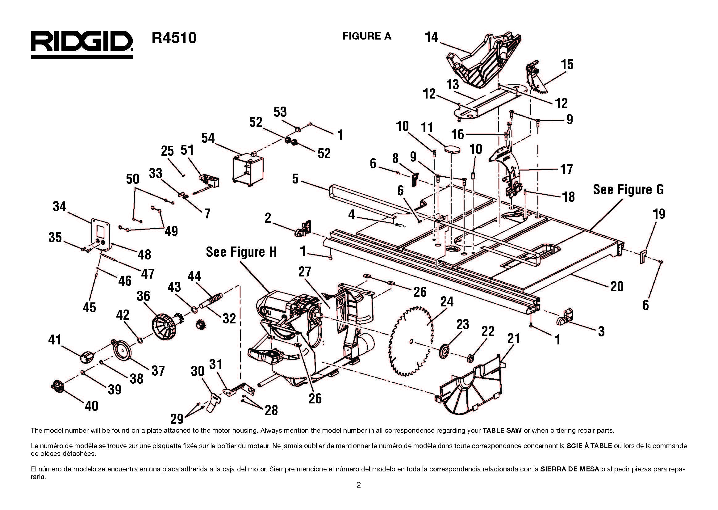 R4510 - Table Saw Parts schematic