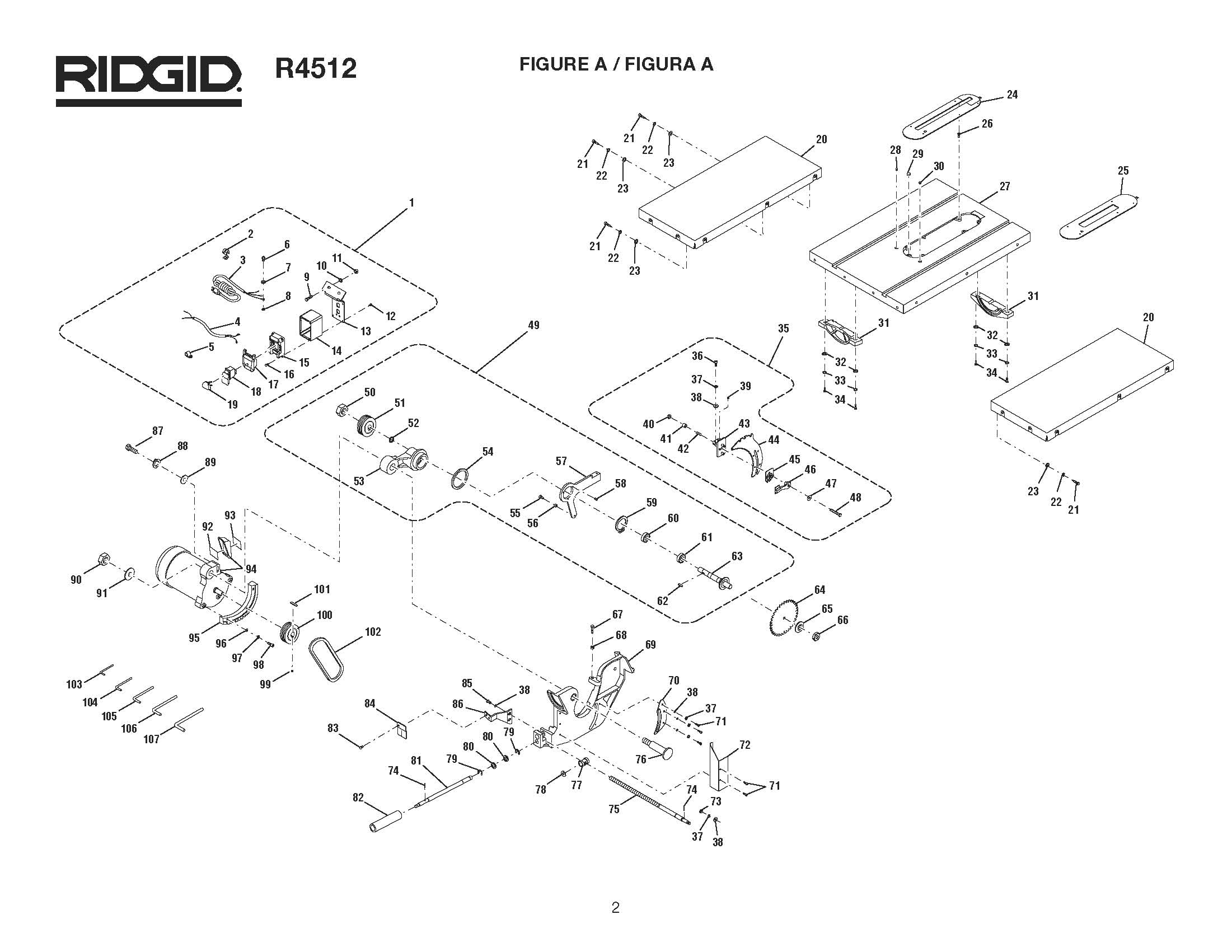 R4512 Ridgid Table Saw Parts