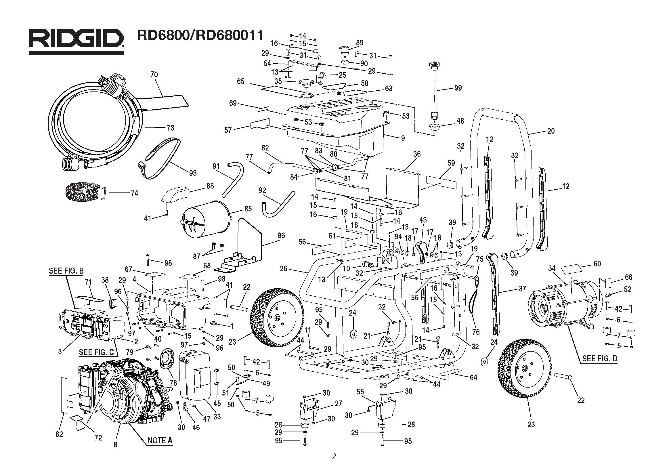 RD6800, RD68011 - Generator Parts schematic