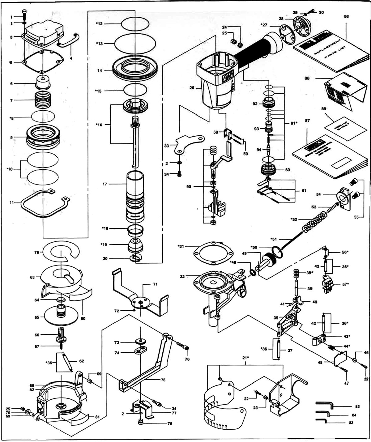 RN1545, RN154500 - Pneumatic Coil Roofing Nailer Parts schematic