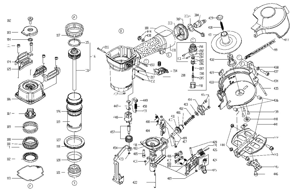 RN175A - Pneumatic Coil Roofing Nailer Parts schematic