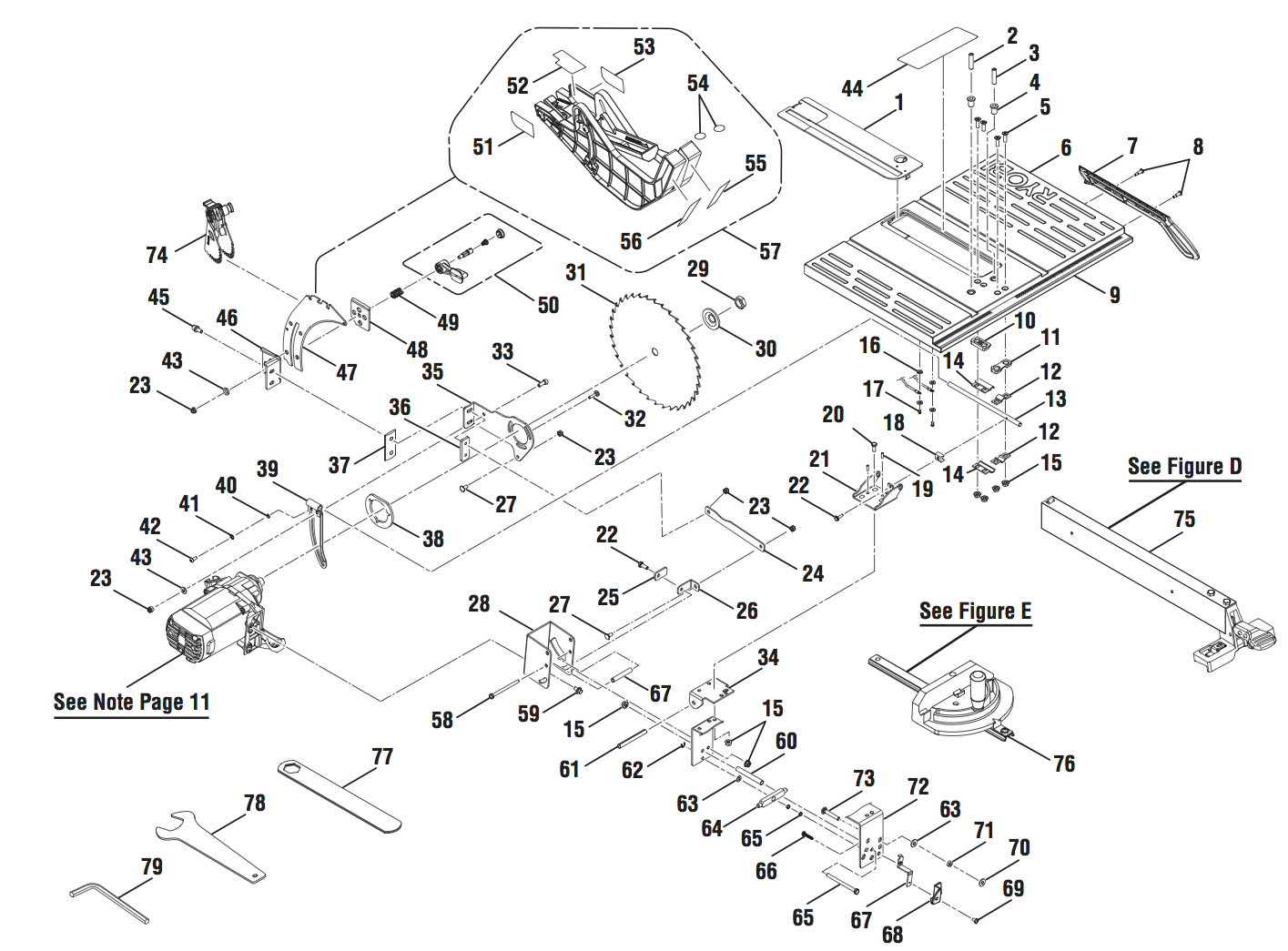 rts10 a table saw parts schematic