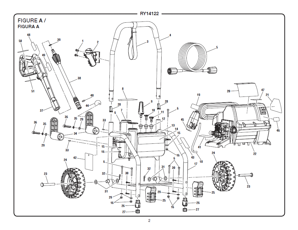RY14122 Figure A ryobi ry14122 electric pressure washer pressure washer parts diagram at bayanpartner.co