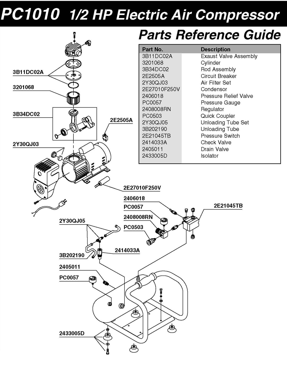 Ingersoll Rand Pressor Wiring Diagram likewise Pressure Switch For Coleman Air  pressor likewise Air  pressor Parts Pc1010 P 75008 besides Oil Bath Electric Repair Parts 109b300 109bl300 B109bl300 22swc 109b300 22 Coleman Powermate Sanborn Parts P 4659 together with Air  pressor Parts 3z323e P 52671. on sanborn compressor wiring diagram
