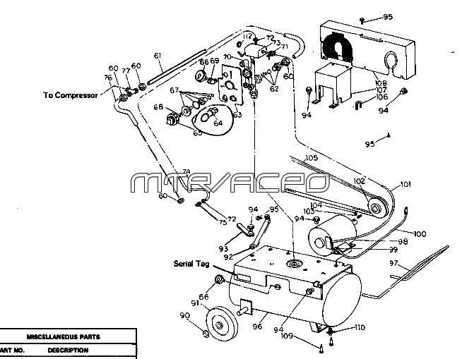 64A100, 64A150, 64A200, 64BL100, 64A100-14 - Air Compressor Parts schematic