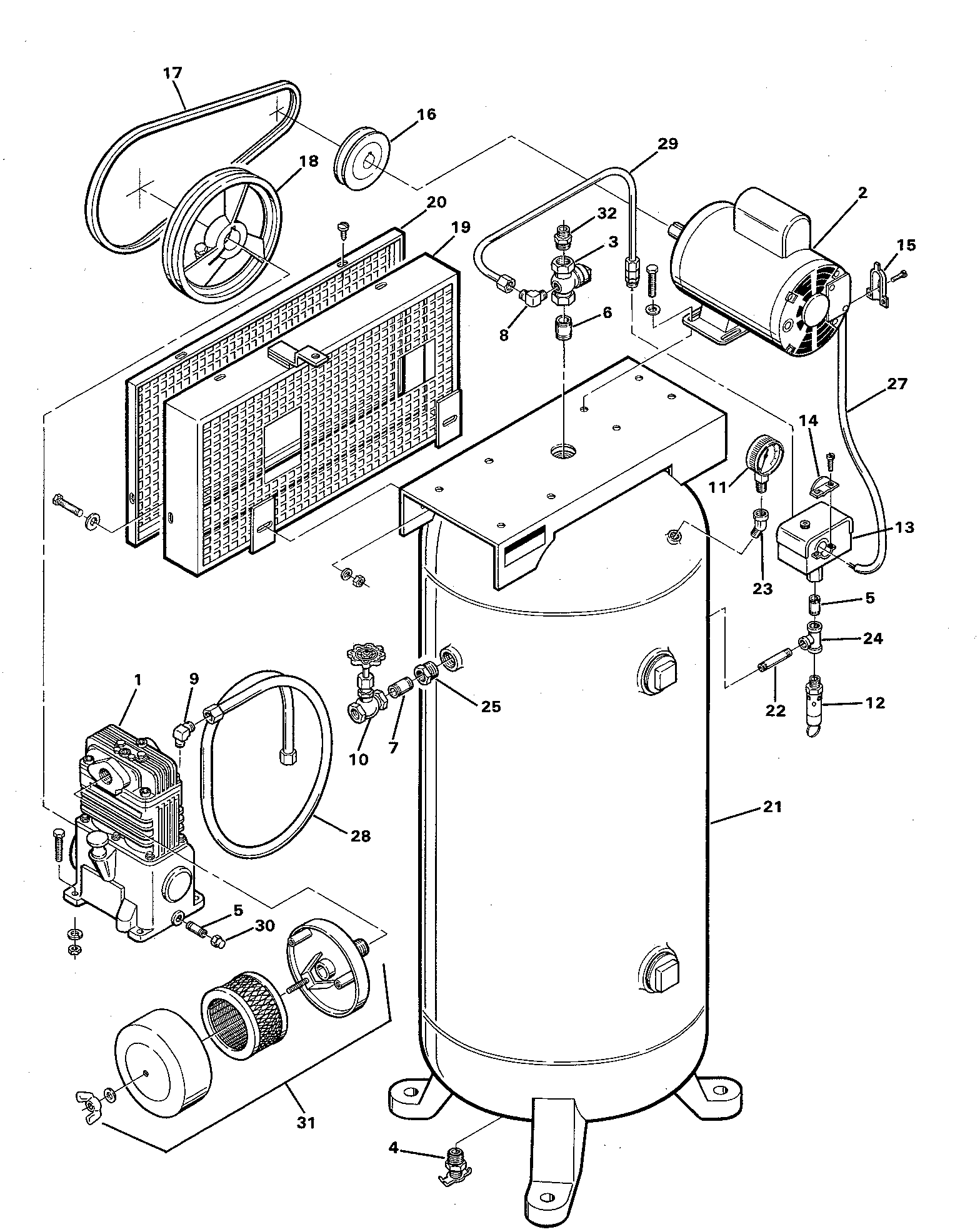 V3160 - Air Compressor Parts schematic