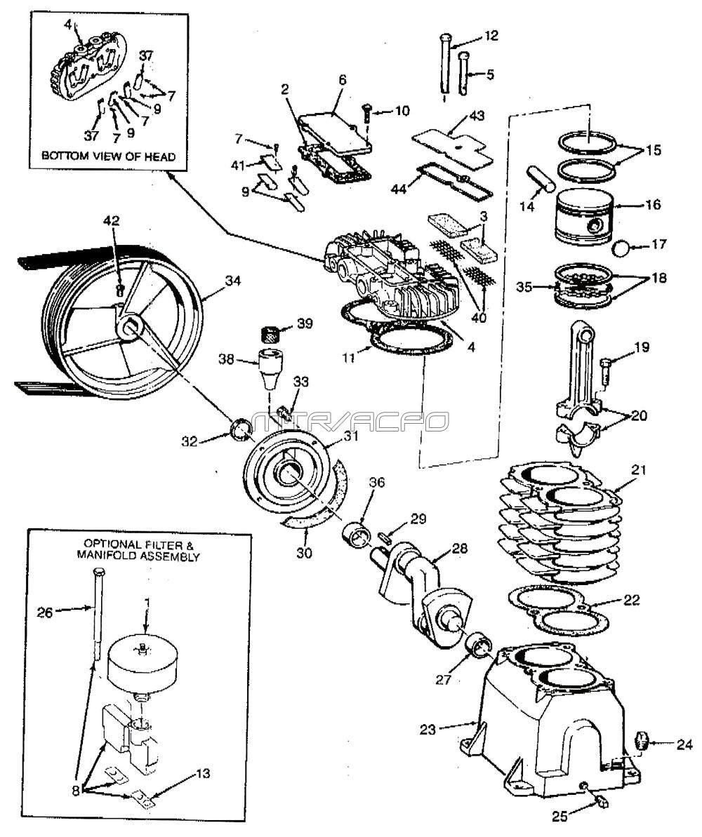 2Z499A, 2Z499B, 2Z630B - Air Compressor Pump Parts schematic