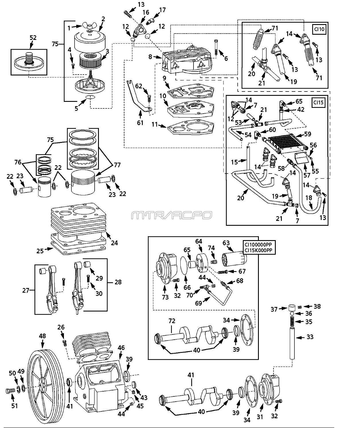 5Z405A - Air Compressor Pump Parts schematic