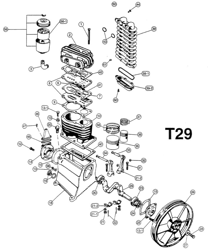 T29 - Air Compressor Pump Parts schematic