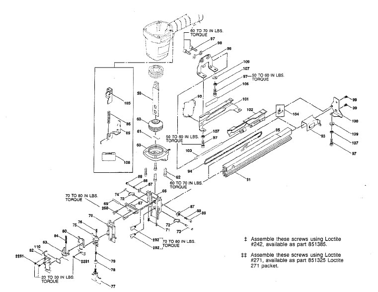 T50S2 - Pneumatic Stapler Parts schematic