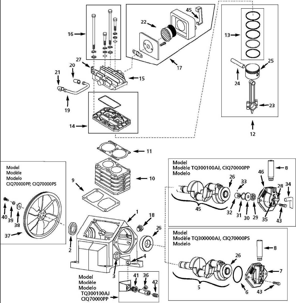TQ300000AJ - Air Compressor Pump Parts schematic