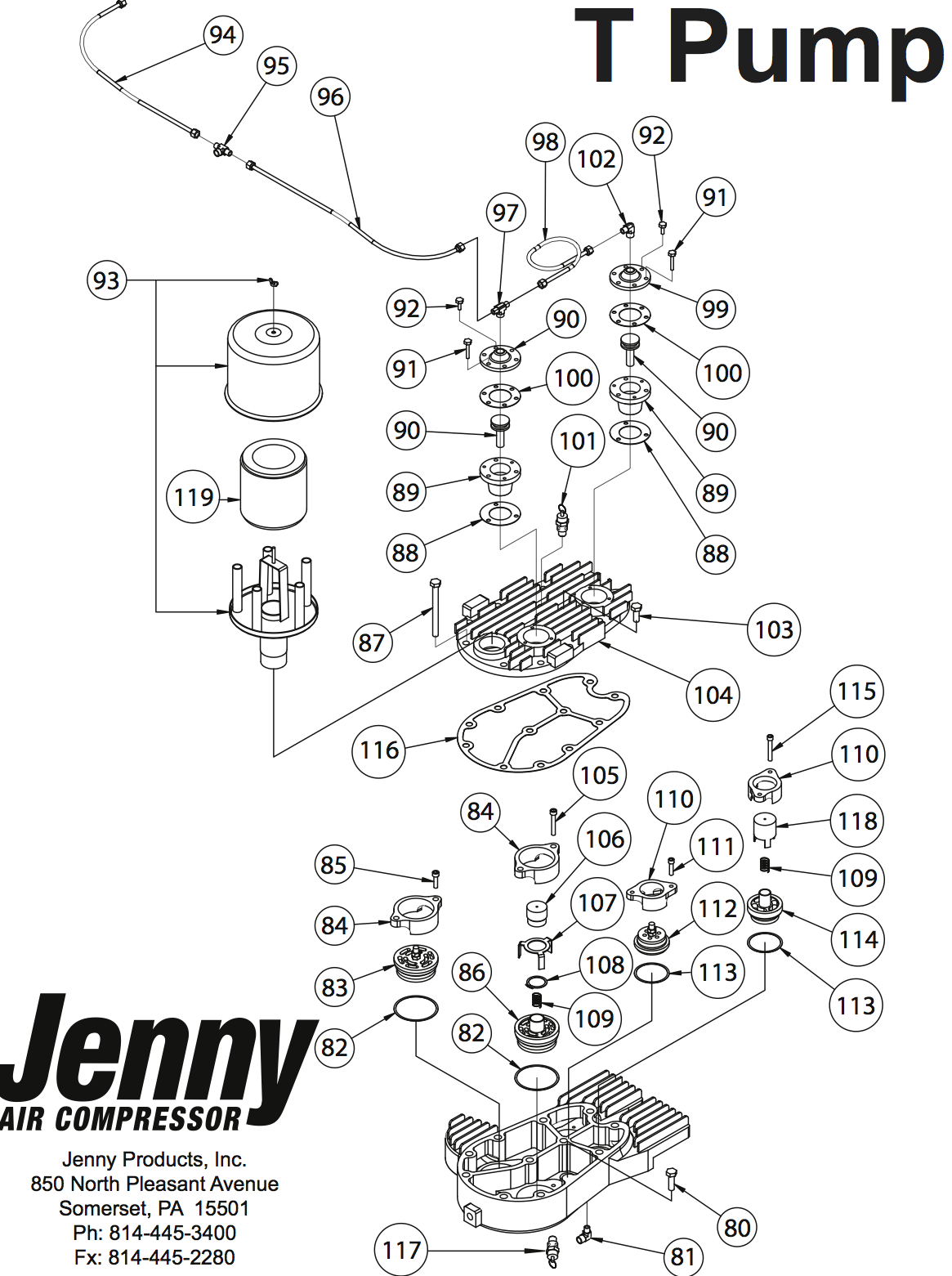 repair parts for jenny t air compressor pumps
