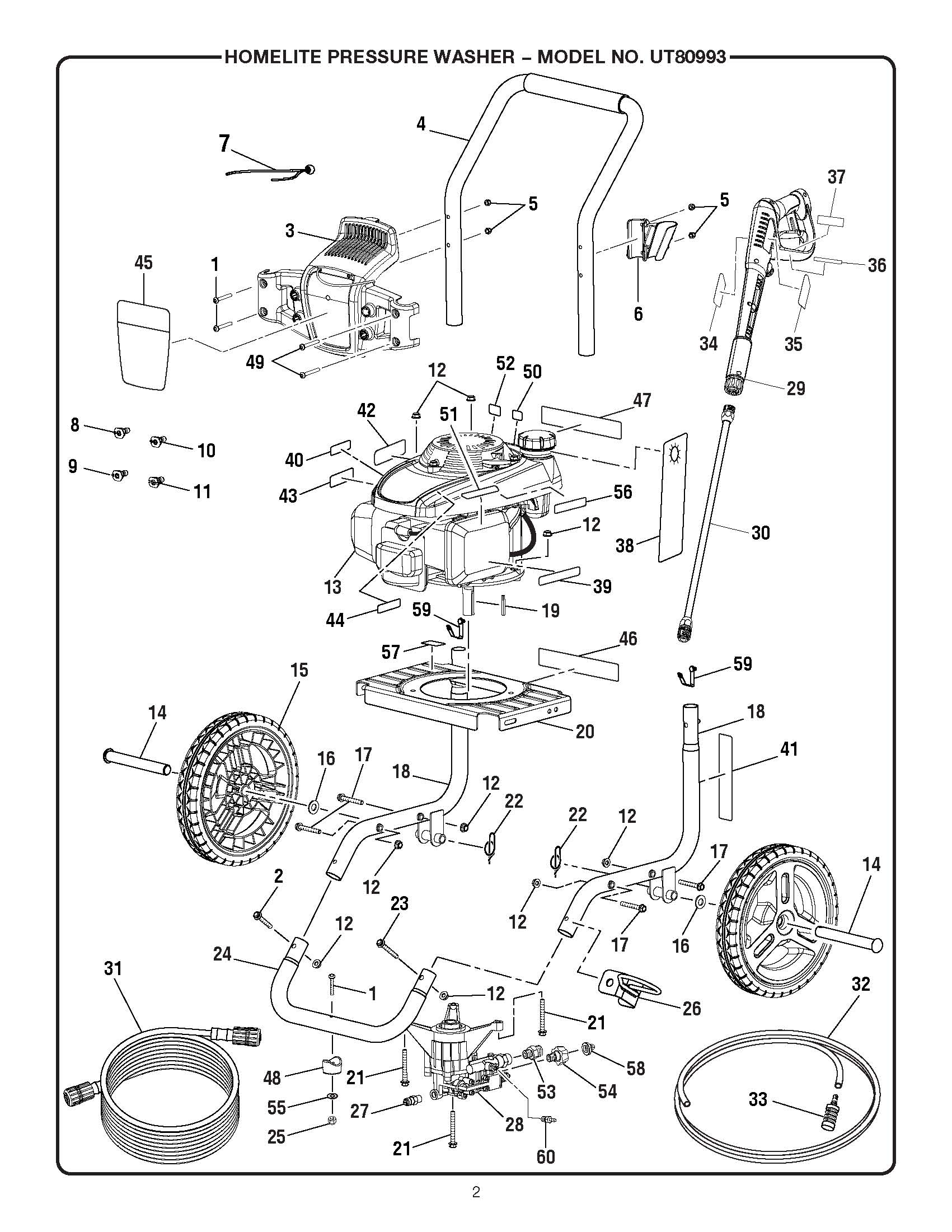 UT80993 - Pressure Washer Parts schematic